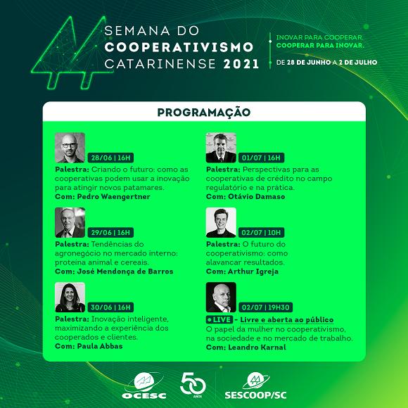 Sistema OCESC lança programação da Semana do Cooperativismo Catarinense