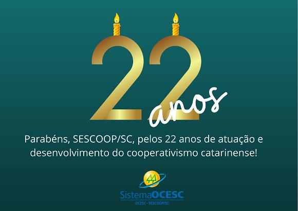 SESCOOP/SC completa 22 anos de fundação